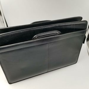 Bags - Black Briefcase Leather Unisex Laptop 15″ Computer